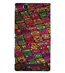 Printvisa Multiface Pattern Back Case Cover for Sony Xperia T2 Ultra::Sony Xperia T2 Ultra Dual