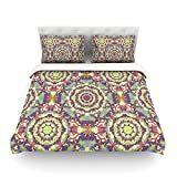 "Kess InHouse Allison Soupcoff ""Plum Lace"" Green Purple King Cotton Duvet Cover, 104 by 88-Inch"