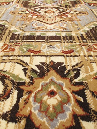 Ecarpetgallery Traditional Persia Serapi Medallion Corners 3' x 5' Ivory living room dining room arearug