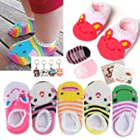 Fly-love® 5 Pairs Cute Baby Toddler Stripes Anti Slip Skid Socks No-Show Crew Boat Sock For 6-18 month by family