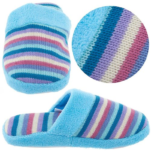 Cheap Blue Striped Knit Slippers for Women (B004Z23ZVU)