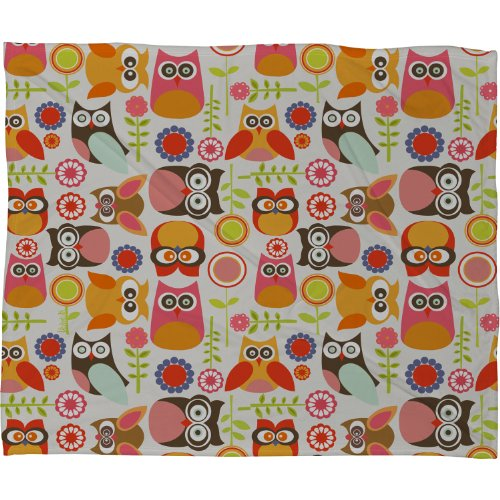 Deny Designs Valentina Ramos Cute Little Owls Fleece Throw Blanket, 60-Inch By 50-Inch