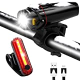 Bike Light Set USB Rechargeable Waterproof Bicycle Front and Rear Lights Safety LED Night Headlight Taillight for Mountain Road & Kids Bicycles (Color: Black)
