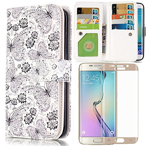 Samsung Galaxy S6 Edge Wallet Case With GOLD 3D Full Cover Screen Protector, AICOO YCL 9 Cards Slot Cash Holder Flip Wallet Stand Case Cover With ARC Curve Tempered Glass Film - Sketch Butterfly