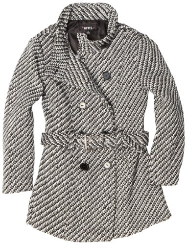 Amy Byer Girls 7-16 Tweed Funnel Neck Double Button Coat With Belt, Black, X-Large