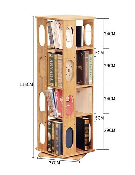 FXQ Scaffale per libri Bamboo Rotating Bookshelf 360 Gradi Moderno Semplice Libreria Scaffale Creativo Scaffale Espositore Da Terra Stand Laminati Può Essere Regolato ( Colore : 4-Tier )