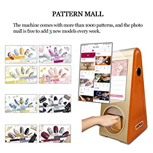 Digital Auto Nail Art Printer Over 1000 Patterns Intelligent Nail Painting Machine with 10.1inch Touch Screen for Listen to Music, Watch Movie, Advertising Play, 20 Seconds Print a Nail