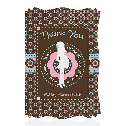Twins Trendy Mommy - Personalized Baby Shower Thank You Cards front-723905