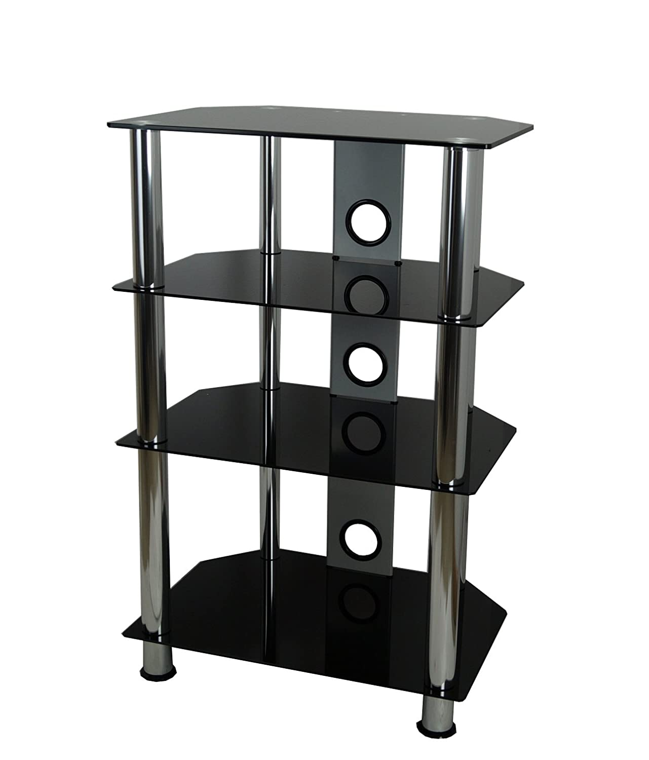 black glass silver legs hi fi console tv stand 4 shelf now reduced ebay. Black Bedroom Furniture Sets. Home Design Ideas