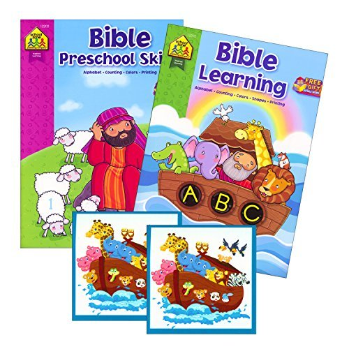 Bible Stories Preschool Coloring and Learning Book Set (2 Books ~ 96 Pages) Jesus, Noah, Daniel ~ With Noah's Ark Stickers (Christian Crafts For Kids compare prices)