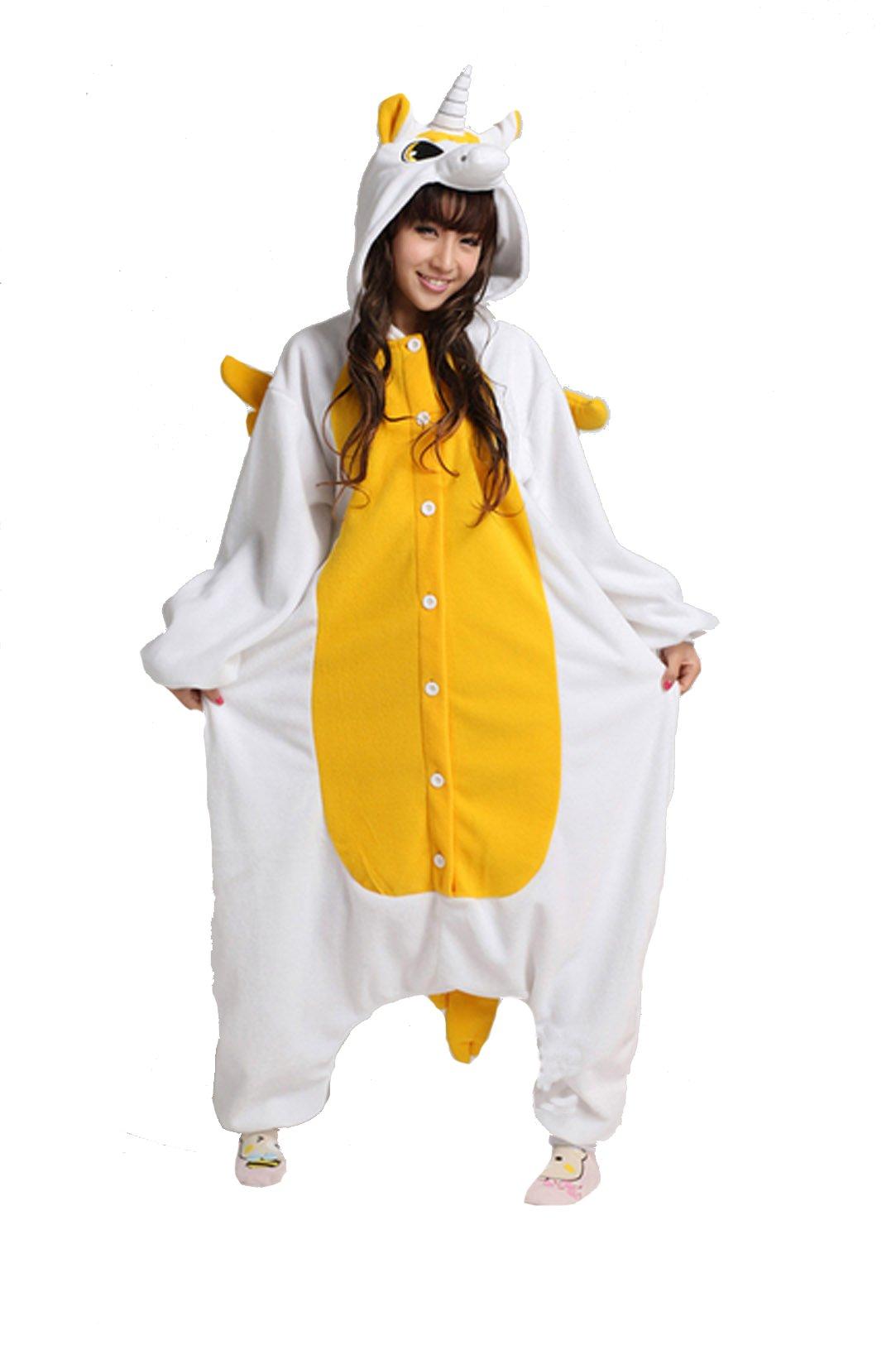 Unisex-adult Kigurumi Onesie Golden Unicorn Pajamas