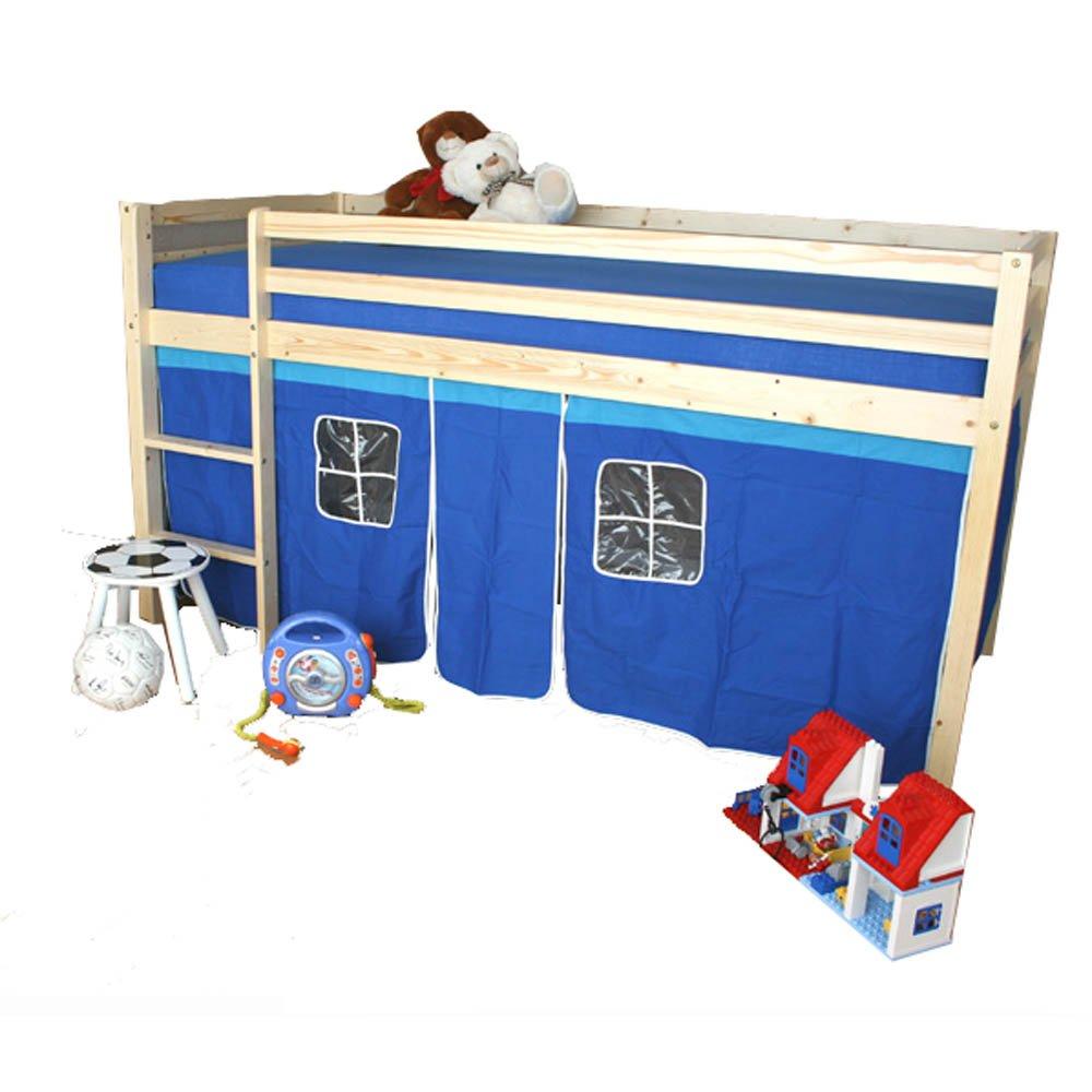 Homestyle4u Hochbett Kinderbett Kiefer natur Massiv Spielbett Vorhang blau + Lattenrost