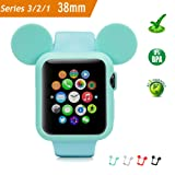 Apple Watch Case 38MM (Green), Mickey Mouse Ears Soft Silicone Protective Cover for iWatch Series 3/Series 2/Series 1 Sport/Edition/Nike+ by pipigo (Color: MICKEY-GREEN, Tamaño: 38 mm)