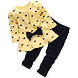 BomDeals Baby Girl Cute 2pcs Set Children Clothes Suit Top And Pants (Age(3T), Yellow)