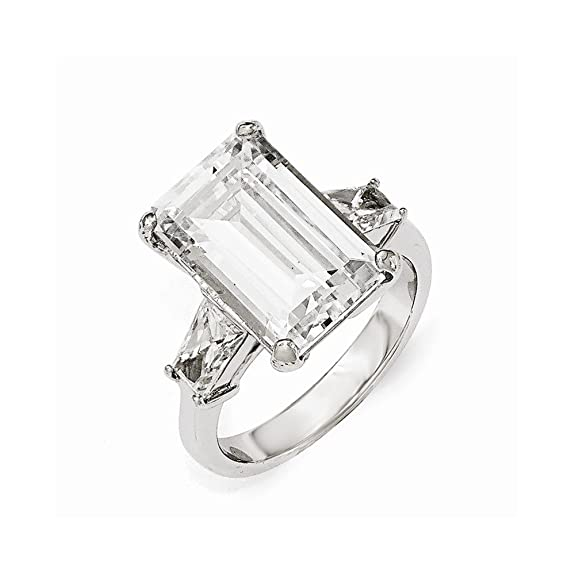 Cheryl M Sterling Silver AAA CZ Step Cut Ring