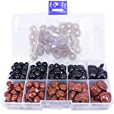 BESTCYC 1 Box (130pcs) 8~16mm Black and Brown Plastic Safety Nose D-Type for Doll Teddy Puppet Making (Color: Brown)