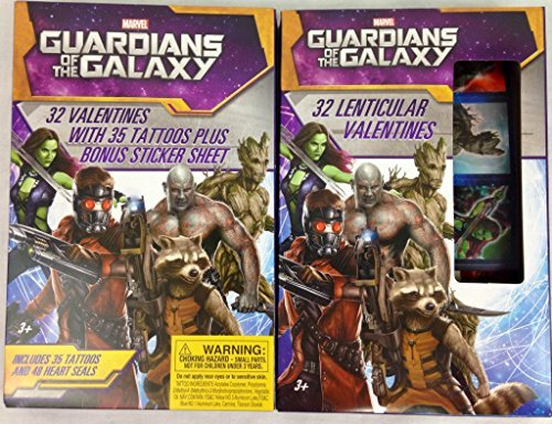 Guardians of the Galaxy 32 Valentines with Tattoos & 32 Lenticular Valentines - 1