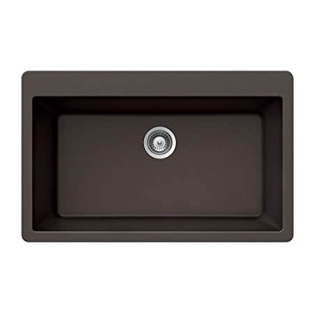 Houzer VIRTUS N-100XL MOCHA Virtus Series Topmount Granite Single Bowl Kitchen Sink, Mocha