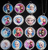 15 DISNEY FROZEN Flat Bottle Cap Necklaces for Birthday, Party Favor Set B2