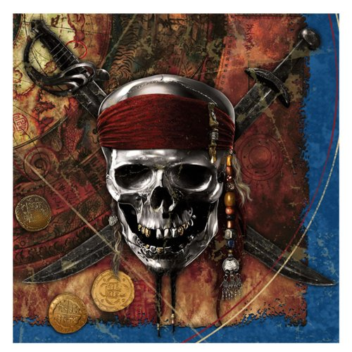 Disney Pirates of the Caribbean 4 Lunch Napkins (16) Party Supplies by Hallmark - 1