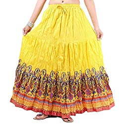 Prateek exports Beautiful Designer Yellow Printed Long Skirt
