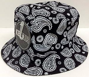 Black Paisley Bucket Hat Floral Print Boonie Cap by KB Ethos