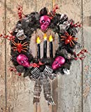 Spooky Lighted Skull Wreath Halloween Party Decoration