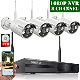?2019 Update? HD 1080P 8-Channel OOSSXX Wireless Security Camera System,4Pcs 720P(1.0 Megapixel) Wireless Indoor/Outdoor IR Bullet IP Cameras,P2P,App, HDMI Cord & 1TB HDD Pre-Install (Color: 8 Channel 1080P System+ 4Pcs 720P Cameras + 1TB HDD)