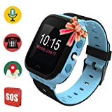 Kids Smart Watch, Waterproof GPS Tracker, Child Phone Watch, SOS Alarm Clock Flashlight, Smartwatch Phone with GPS Locator, Voice Chat, Math Games for Back to School Children Age 3-14 Boys Girls… (Color: Blue)