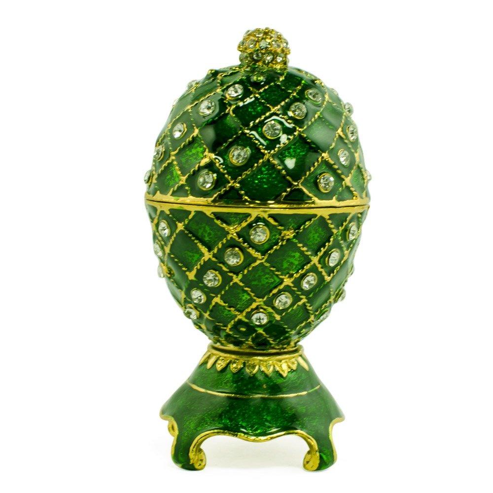 Cristal Vert Inspired Royal Russian Egg- Enameled Jewelry Trinket Box Figurine