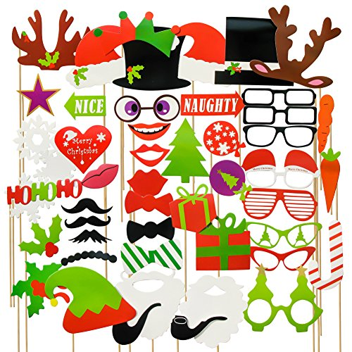 TOAOB Christmas Photo Booth Props 58 piece DIY Kit for Wedding Party (Italian Photo Prop compare prices)