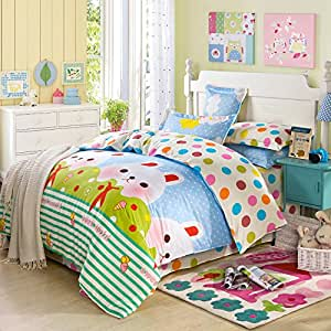 l 39 enfance de r ve bleu ensemble de literie literie pour enfants housses de couette drap plat. Black Bedroom Furniture Sets. Home Design Ideas