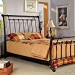 Loures Contemporary Vintage Style Brushed Bronze Finish Full Size Bed Frame Set
