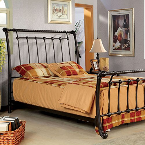 Loures Contemporary Vintage Style Brushed Bronze Finish Full Size Bed Frame Set 0