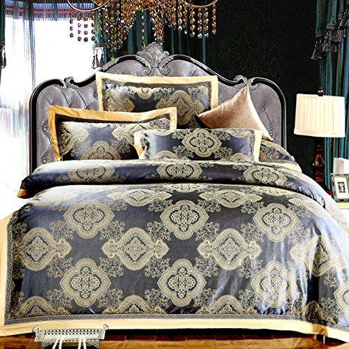 4Pc Sheet Set Cotton Denim Jacquard Satin Wedding Luxury Bedding Set front-853768