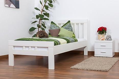 """Einzelbett """"Easy Sleep"""" K8, Buche Vollholz massiv weiß lackiert - Maße: 90 x 190 cm"""