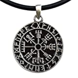 Vegvísir wayfinder Guidepost Safe Travel Compass Talisman Viking Pewter Pendant (Black PVC Cord)