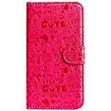 Purple Eyes ABC Artificial Leather Flip Cover Case For Apple Iphone 5C (Pink)