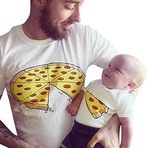 Kukiwa子供服 親子服 かわいいピザプリント半袖Tシャツ