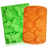 Soap Molds, SENHAI 2Pcs 6 Cavity Insect Silicone Mold Butterfly Mold DIY Silicone Mold for Bath Bomb, Lotion Bars, Chocolate, Candy, Jello, Muffin Cookie, Baking Cupcake (Orange, Green)