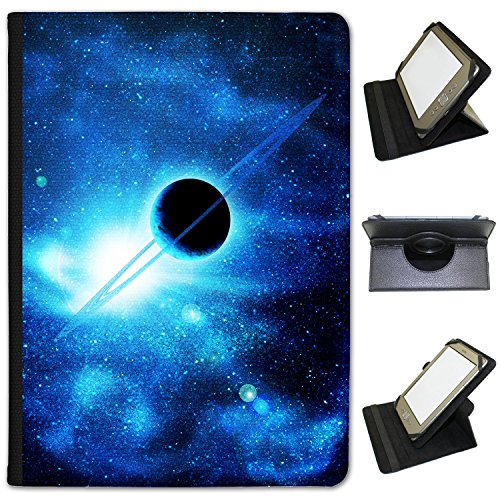 planet-with-rings-saturn-in-blue-space-universal-faux-leather-case-cover-folio-for-the-kobo-aura-6-i