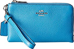 COACH Women\'s Polished Pebbled Double Corner Zip Sv/Peacock Clutch