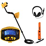 MIQIKO Digital Metal Detector, High-Accuracy Waterproof Metal Finder with Large LCD Screen and Unique Tone Prompt, Sensitive Treasure Hunting Tool