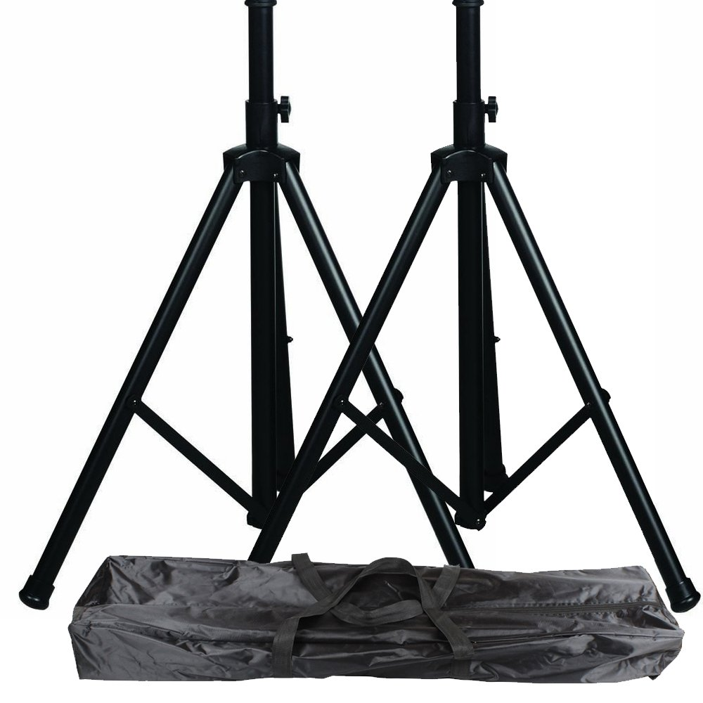 pro audio speaker stands pair carrying bag dj tripod adjustable height ebay. Black Bedroom Furniture Sets. Home Design Ideas