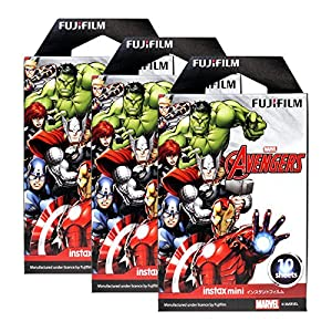 Fujifilm Instax Mini Marvel Avengers 30 Film for Fuji 7s 8 25 50s 90 300 Instant Camera, Share SP-1