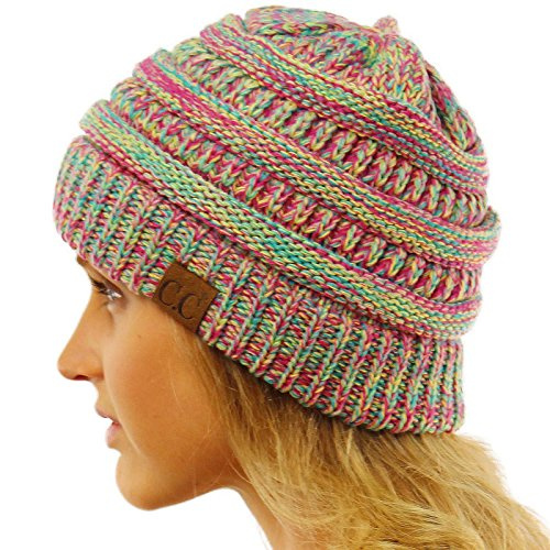 CC Quad Color Warm Chunky Thick Stretchy Knit Slouchy Beanie Skull Cap Hat Hot Pink (Hot Dog Beanie compare prices)