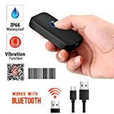 Tera Waterproof Mini Wireless Barcode Scanner Compatible with Bluetooth, Printed Digital 1D 2D QR Barcode Reader Scanner Portable for PC, Laptop, Smartphone and Tablet with Vibration Alert Function (Color: Waterproof 0.3 MP Camera BT Scanner)