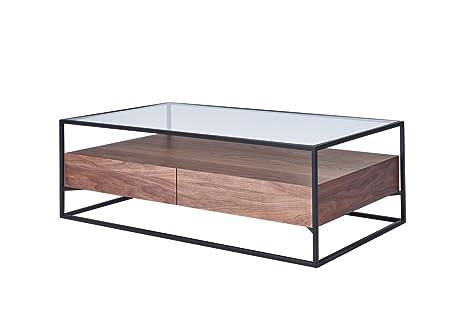 CAGUSTO® Couchtisch CHICAGO 120 x 70 x 40 Walnuss Echtholzfurnier mit schwarzem Metallrahmen und Glas-Ablage, inkl. zwei Schubladen