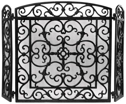 Kaminschutz-aus-Gusseisen-mit-feinem-Funkenschutzgitter-als-hochwertiger-und-dekorativer-Funkenschutz-fr-offene-Kamine