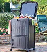 77 Quart Wicker-Look Portable Resin Cooler With Storage Drawer